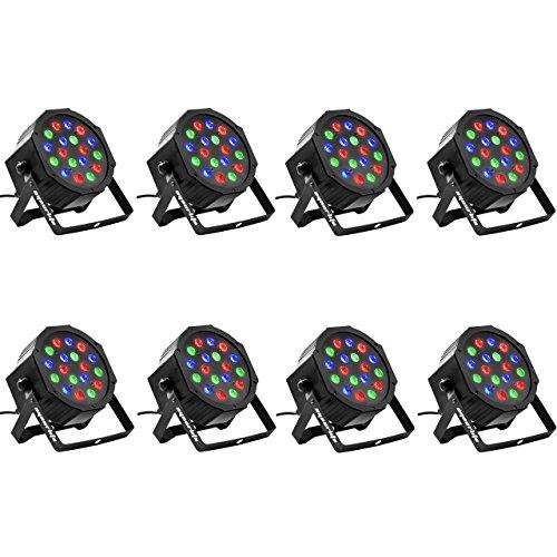 Eyourlife 8PCS 18 X 3W LED Stage Light DJ Par Lights