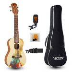 VIVICTORY Concert Ukulele 23 Inch Spruce Mahogany and Painting style with Beginner kit : Gig Bag,Tuner,Straps,Picks and Nylon String – Natural Color 1