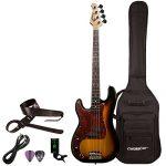 Sawtooth 4 String EP Series Electric Bass Guitar with Gig Bag & Accessories, w/Tortoise Pickguard, Vintage Burst-Left Handed, (ST-PB-LH-VBT-KIT-1)