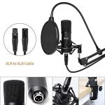 XLR Condenser Microphone, UHURU Professional Studio Cardioid Microphone Kit with Boom Arm, Shock Mount, Pop Filter, Windscreen and XLR Cable, for Broadcasting, Recording, YouTube 3