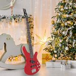 GLARRY Bass Guitar Full Size 4 String Exquisite Stylish Bass with Guitar Bag Power Line and Wrench Tool (Red) 3