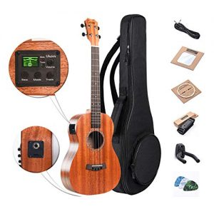 Baritone Electric Ukulele Caramel All Solid Mahogany 30 inch Professional Wooden