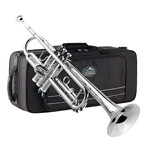 Eastrock Trumpet Brass Standard Bb Trumpet Set for Beginnner, Student with Hard Case, Gloves, 7C Mouthpiece, Trumpet Cleaning Kit(Nickel Plated)