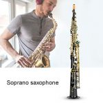 Soprano Saxophone, Black Golden Button Brass Tube B Flat Soprano Straight Sax Woodwind Instrument with Mouthpiece Carekit Carrying Bag Strap for Student