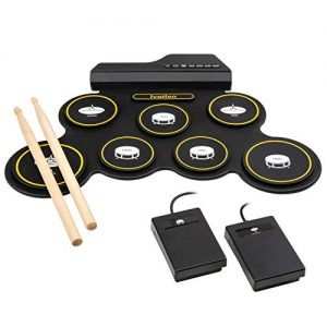 Ivation Portable Electronic Drum Pad - Digital Roll-Up Touch Sensitive Drum