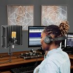Neewer Tabletop Microphone Isolation Shield with Absorbing Foam, Conderser Microphone, Shock Mount, Tripod Stand, and Studio Monitor Headphones for Sound Recording Podcasts Singing Broadcasting etc 2