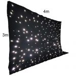 Stage Backdrop 3m x 4m Fireproof Black Fabric White LED Star Curtain