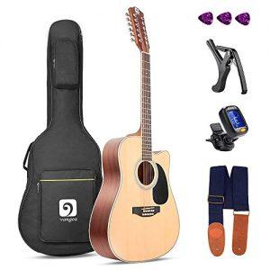 Vangoa 12 String Acoustic Guitar Cutaway, Spruce Top & Mahogany Sides