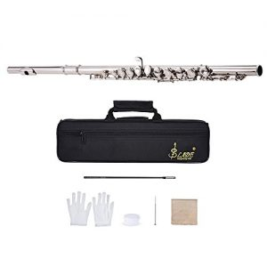ammoon Concert Flute Silver Plated 16 Holes C Key