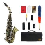 Kalaok Vintage Style Bb Soprano Saxophone Sax Brass Material Woodwind Instrument with Carry Case Gloves Cleaning Cloth Brush Sax Strap Mouthpiece Brush