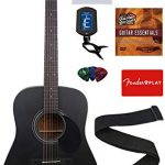 Jasmine S35 Acoustic Guitar – Matte Black Bundle with with Strings, Strap, Tuner, Picks, DVD, and Austin Bazaar Polishing Cloth
