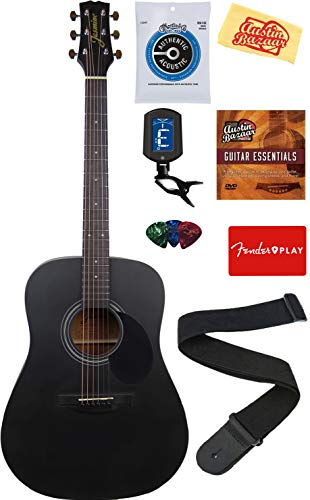 Jasmine Acoustic Guitar - Matte Black Bundle with with Strings, Strap, Tuner