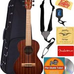 Kala KA-15T Satin Mahogany Tenor Ukulele Bundle with Hard Case, Tuner, Strap, Strings, Fender Play Online Lessons, Austin Bazaar Instructional DVD, and Polishing Cloth