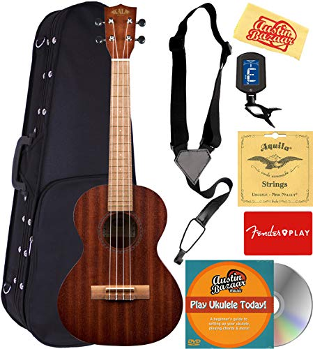 Kala Satin Mahogany Tenor Ukulele Bundle with Hard Case