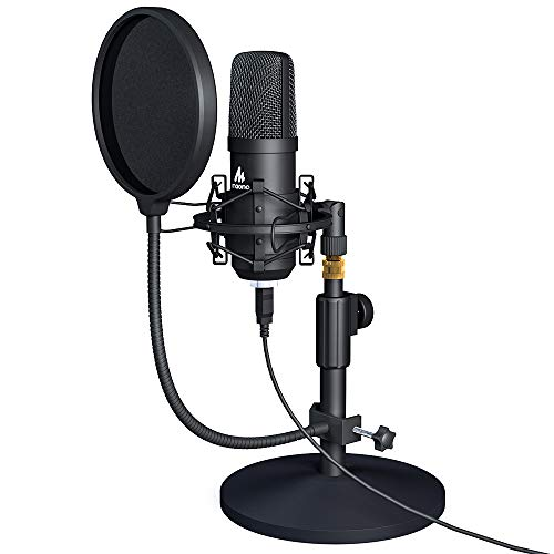 USB Microphone Kit MAONO PC Condenser Podcast Streaming Cardioid Mic Plug