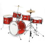 "Ashthorpe 5-Piece Complete Kid's Junior Drum Set with Genuine Brass Cymbals - Children's Professional Kit with 16"" Bass Drum, Adjustable Throne, Cymbals, Hi-Hats, Pedals & Drumsticks - Red"