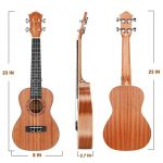 Concert Ukulele Ranch 23 inch Professional Wooden ukelele Instrument Kit With Free Online 12 Lessons Small Hawaiian Guitar ukalalee Pack Bundle Gig bag & Digital Tuner & Strap & 4 Aquila Strings Set 1