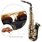 ammoon bE Alto Saxphone Brass Lacquered Gold E Flat Sax 82Z Key Type Woodwind Instrument with Cleaning Brush Cloth Gloves Cork Grease Strap Padded Case 3