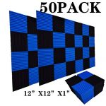 50 Pack Acoustic Panels Soundproof Studio Foam for Walls Sound Absorbing Panels Sound Insulation Panels Wedge for Home Studio Ceiling, 1″ X 12″ X 12″, Black (50Pcs, Black&Blue)