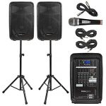 Knox Dual Speaker and Mixer Kit – Portable 8″ 300 Watt DJ PA System with Wired Microphone, and Tripods – 8 Channel Amplifier – Bluetooth, USB, SD, 1/4″ Line RCA, XLR Inputs
