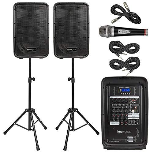 "Knox Dual Speaker and Mixer Kit - Portable 8"" 300 Watt DJ PA System"