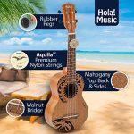 Hola! Music HM-121TT+ Laser Engraved Mahogany Soprano Ukulele Bundle with Aquila Strings, Padded Gig Bag, Strap and Picks – Tribal Tattoo 1