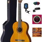 Yamaha C40 Nylon String Acoustic Guitar Bundle with Hardshell Case, Tuner, Instructional DVD, Strings, Pick Card, and Polishing Cloth