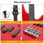 GLARRY Bass Guitar Full Size 4 String Exquisite Stylish Bass with Guitar Bag Power Line and Wrench Tool (Red) 1