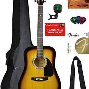 Fender Squier Dreadnought Acoustic Guitar - Sunburst Bundle with Gig Bag
