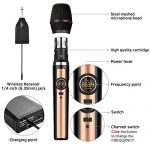 Wireless Microphone System, UHF Dual Handheld Dynamic Wireless Mic Set with Rechargeable Receiver, 1/4″ (6.35mm) Plug, 100ft, for mic Karaoke/Singing/House Parties 1