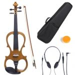 Cecilio 3/4 CEVN-1Y Solid Wood Electric/Silent Violin with Ebony Fittings in Style 1 – Yellow Maple Metallic