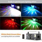 DJ lights, 4 in 1 Sound Activated RGBW Stage Lights with Remote Control, Strobe Effects Pattern Beam Lights Compatible with DMX 512 for Party Wedding Event Church 2
