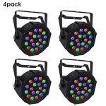 Stage Light Package, 18W RGB 4 Pack Par Lights with DMX512 and Sound Activated Uplight for Wedding Church DJ Birthday Christmas Party Wall Wash Light