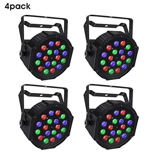 Stage Light Package, 18W RGB 4 Pack Par Lights