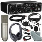 Behringer U-PHORIA UMC204HD USB 2.0 Audio/MIDI Interface and Platinum Bundle w/Pro Condenser Mic + Headphones + Cables + Fibertique