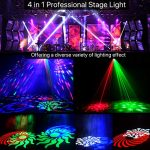 DJ lights, 4 in 1 Sound Activated RGBW Stage Lights with Remote Control, Strobe Effects Pattern Beam Lights Compatible with DMX 512 for Party Wedding Event Church 1