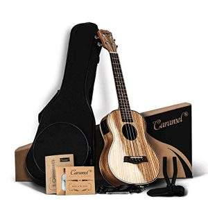 Caramel 26 inch Zebra Wood High Gloss Tenor Electric Ukulele