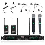 Phenyx Pro 4-Channel UHF Wireless Microphone System, Cordless Mic Set with Handheld/Lapel/Headset/Bodypack, Rugged Metal Build, Fixed Frequency, Long Range, Ideal for Karaoke,Church,Events(PTU-5000C)