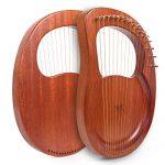 Lyre Harp, AKLOT 16 Metal Strings Mahogany Lye Harp with Tuning Wrench Pick up and Black Gig Bag 1