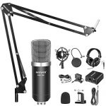 Neewer NW-700 Pro Condenser Microphone and Monitor Headphones Kit with 48V Phantom Power Supply, NW-35 Boom Scissor Arm Stand, Shock Mount and Pop Filter for Home Studio Sound Recording(Black) 1