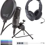 Audio-Technica AT2020USB+ Cardioid Condenser Microphone Bundle with Samson SR350 Over-Ear Closed-Back Headphones, Blucoil Mini USB Type-C Hub with 4 USB Ports, Pop Filter Windscreen, and 5x Cable Ties