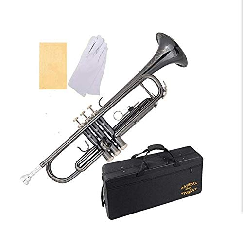 Glory Black Nickel With engraved flowers, Brass Bb Trumpet with Pro Case +Care Kit