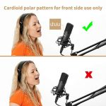 XLR Condenser Microphone, UHURU Professional Studio Cardioid Microphone Kit with Boom Arm, Shock Mount, Pop Filter, Windscreen and XLR Cable, for Broadcasting, Recording, YouTube 1