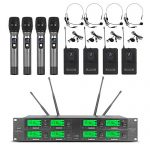 Wireless Microphone System 8 Channel Microphone UHF 4 Handheld Mic 4 Headset 4 Lavalier Bodypack 4 Lapel Mic Pro Audio Karaoke System Church Speaking Conference Wedding Party