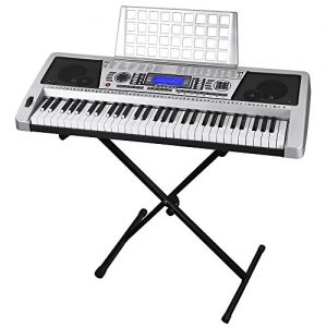 "61 Key LCD Display Electronic Keyboard 37"" w/Black Adjustable X-Stand Piano"