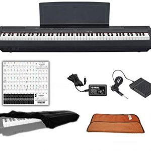 Yamaha Black 88 Weighted Keys Digital Piano Keyboard Bundle