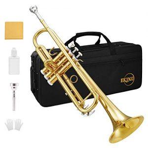 Eking Standard Student Trumpet Brass Gold Bb Trumpet Beginner with Hard Case Gloves Cloth 7C Mouthpiece and Valve Oil, KTR-400