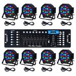 CO-Z LED Par Lights 18x3W Pack of 8 pcs RGB DJ Stage Party Light System