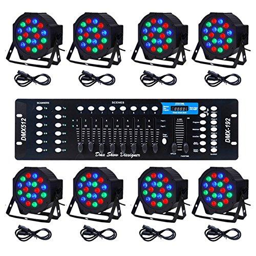 CO-Z LED Par Lights 18x3W Pack of 8 pcs RGB DJ Stage Party Light System