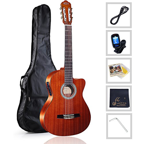 WINZZ Nylon-string Classical Guitar 39 Inches Electric Build-in Pickup Cutaway